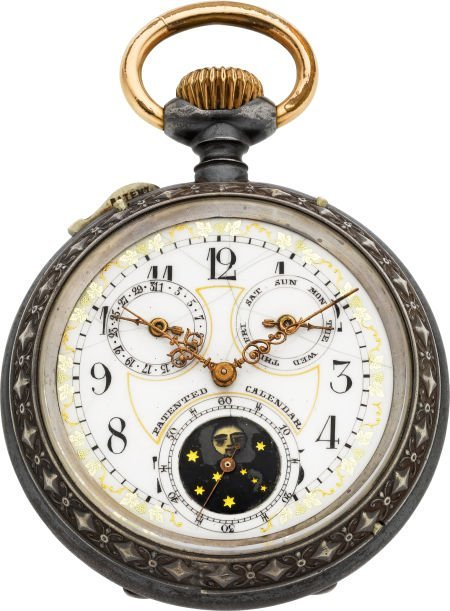 61022: Swiss Fancy Dial Patented Calendar With Moon Pha