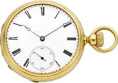 61039 Patek Philippe  Co Early Keyless Gold Pocket W