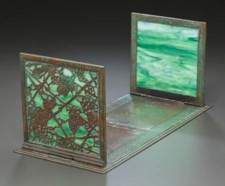 89003: TIFFANY STUDIOS GLASS AND BRONZE GRAPEVINE PATTE