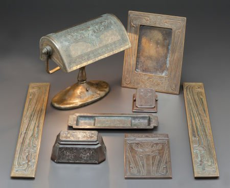 89018: TIFFANY STUDIOS EIGHT PIECE BRONZE CHINESE PATTE