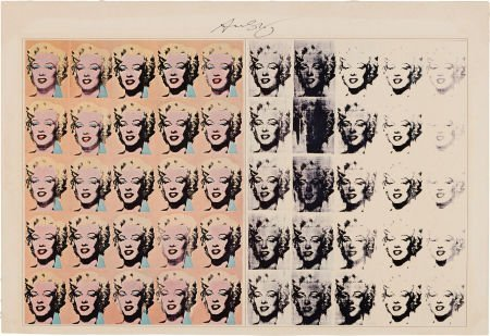 46017: A Marilyn Monroe Poster Signed by Andy Warhol, C