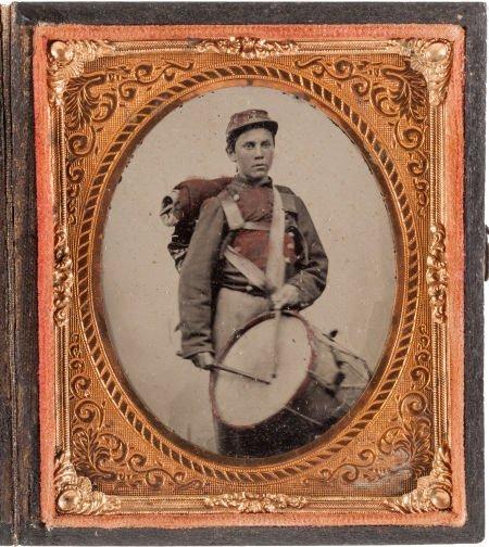 52005: Union Drummer Boy: Sixth Plate Tintype.