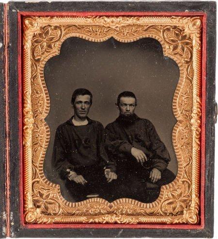 52006: Sixth Plate Tintype of Civil War era Firemen