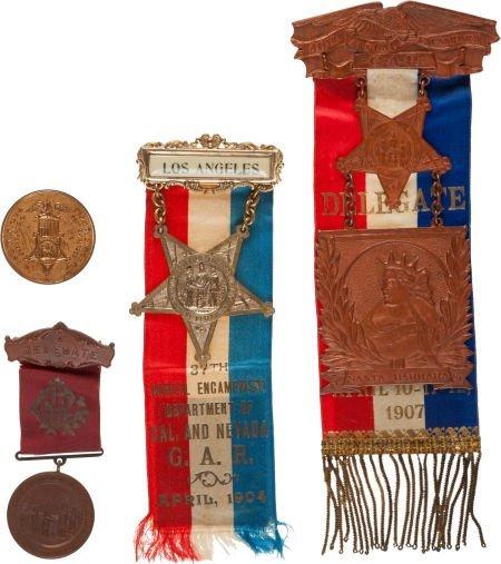 52017: Superb Lot of Four G.A.R. Encampment Badges.