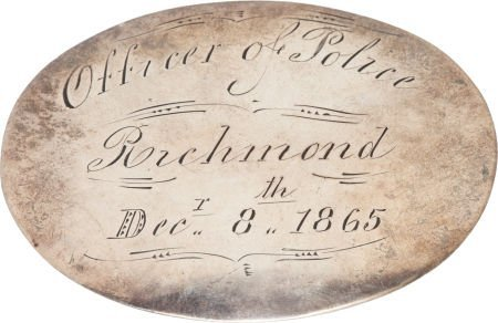52018: Richmond Coin Silver Police Badge of Thomas Clem