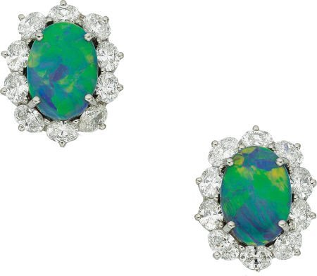 58015: Black Opal, Diamond, Platinum Earrings, Oscar He