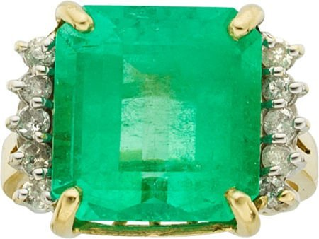 58016: Emerald, Diamond, Gold Ring