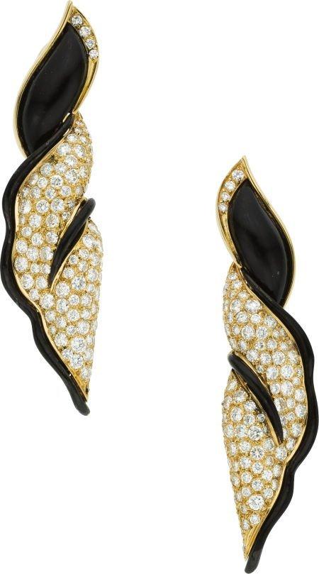 58020: Diamond, Enamel, Gold Earrings, Fred, French