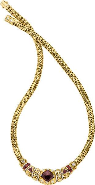 58045: Garnet, Diamond, Gold Necklace, John Hardy