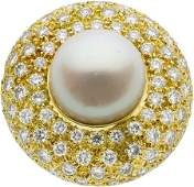 58061: South Sea Cultured Pearl, Diamond, Gold Ring