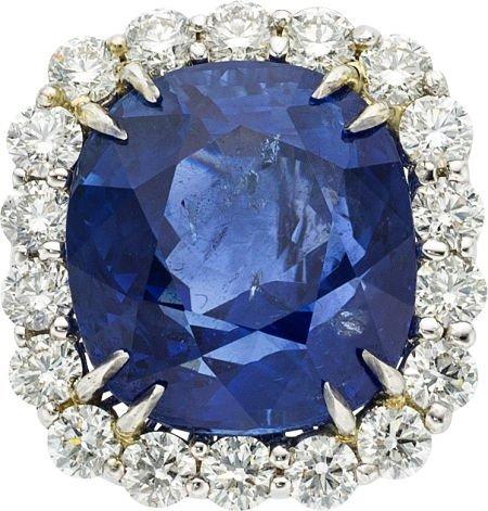 58507: Burma Sapphire, Diamond, Platinum Ring