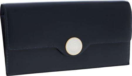 56001: Hermes Blue Marine Calf Box Leather Sac Duc Clut