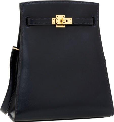56002: Hermes 20cm Indigo Calf Box Leather Kelly Sport