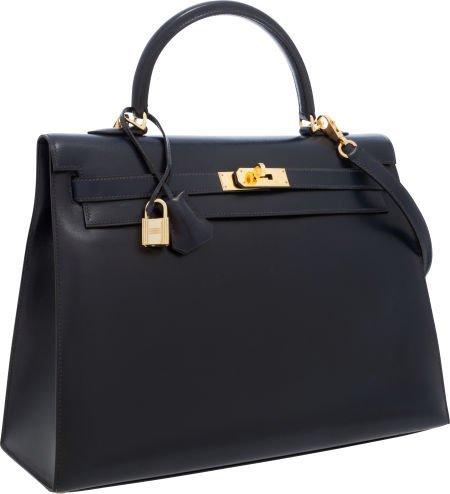 56004: Hermes 35cm Indigo Calf Box Leather Sellier Kell