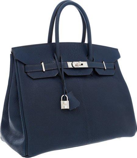 56005: Hermes 35cm Indigo Chevre Leather Birkin Bag wit