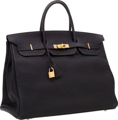 56006: Hermes 40cm Indigo Fjord Leather Birkin Bag with