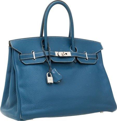 56007: Hermes 35cm Blue Thalassa Clemence Leather Birki