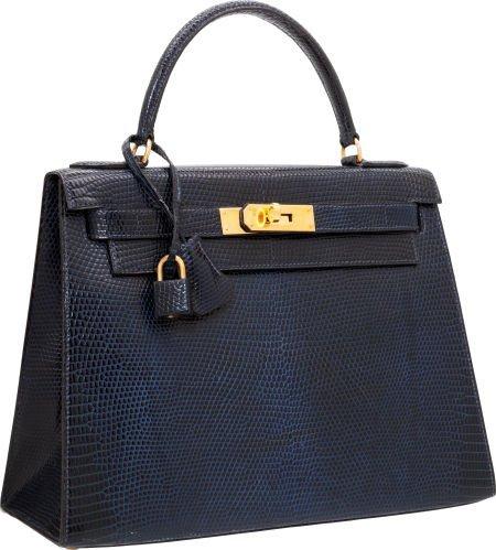 56008: Hermes 28cm Indigo Lizard Sellier Kelly Bag with