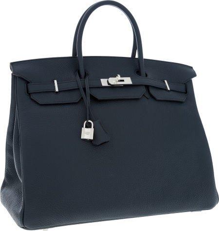 56009: Hermes 40cm Blue Obscure Clemence Leather Birkin
