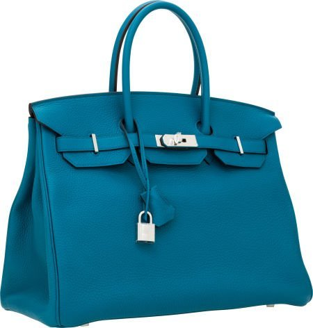 56010: Hermes 35cm Blue Izmir Clemence Leather Birkin B