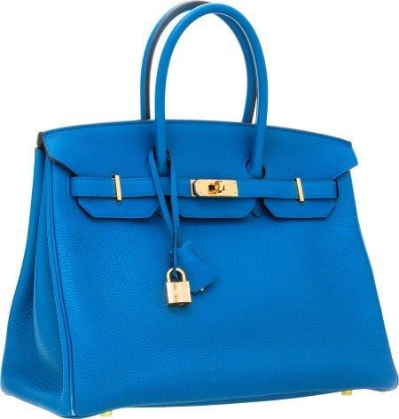 56011: Hermes 35cm Blue Cobalt Togo Leather Birkin Bag