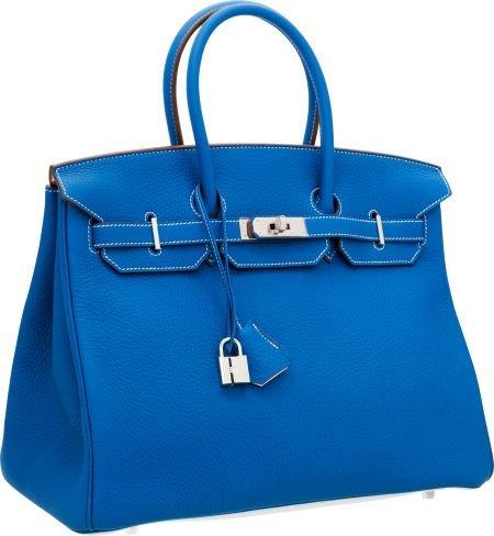 56012: Hermes Limited Edition 35cm Blue Mykonos & White