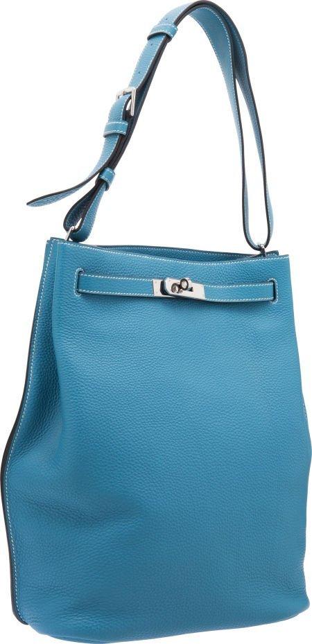 56013: Hermes 26cm Blue Jean Togo Leather So Kelly Bag
