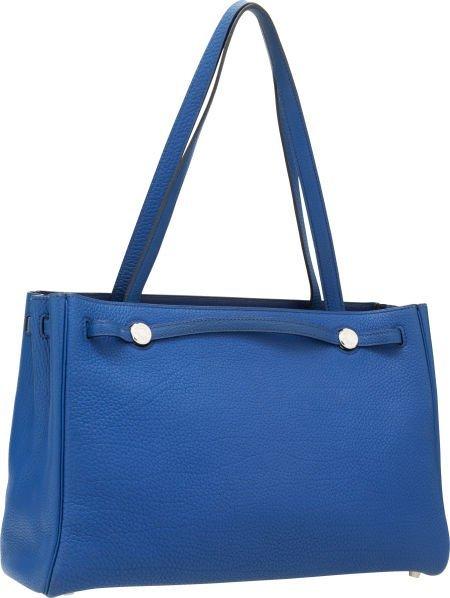 56014: Hermes Blue Sapphire Fjord Leather Kabana Bag wi