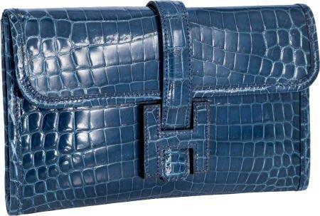 56017: Hermes Shiny Blue Roi Nilo Crocodile Jige PM H C