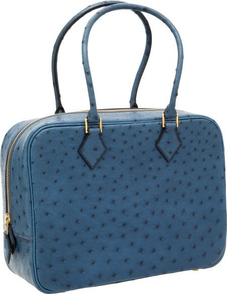 56018: Hermes 28cm Blue Roi Ostrich Plume Bag with Gold
