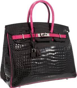 56166: Hermes Limited Edition 35cm Shiny Black & Rose S