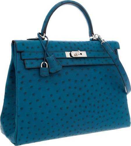 76f298647ac8 56019  Hermes 35cm Blue Cobalt Ostrich Retourne Kelly B