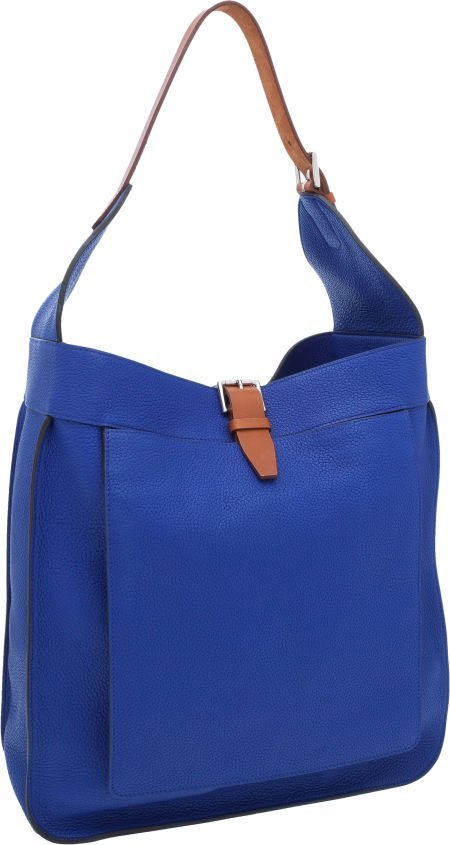 56020: Hermes Blue Electric Clemence Leather & Vache Na
