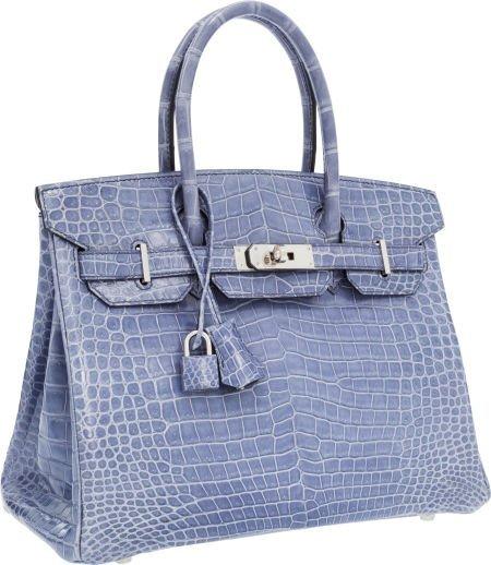 56021: Hermes 30cm Shiny Blue Brighton Porosus Crocodil