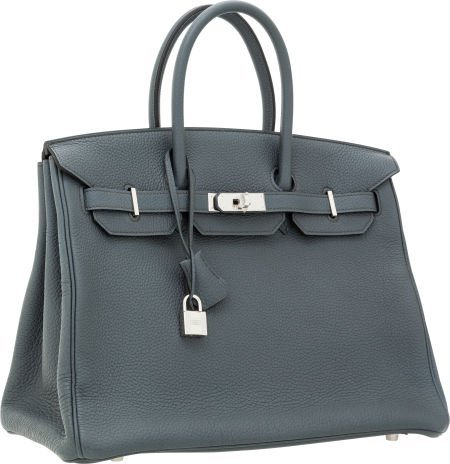 56022: Hermes 35cm Blue Orage Togo Leather Birkin Bag w