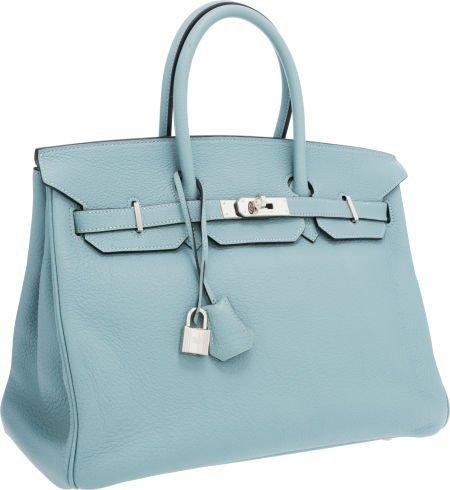 56024: Hermes 35cm Blue Ciel Togo Leather Birkin Bag wi