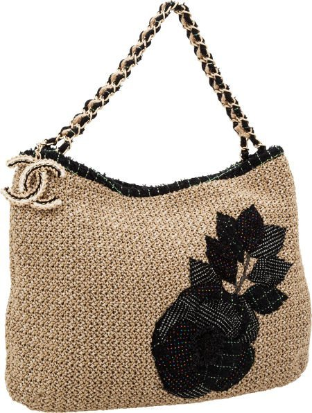 56245: Chanel Navy & Tan Woven Hobo Bag with Tweed Deta