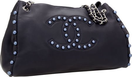 56246: Chanel Navy Lambskin Leather Pearly Tote Bag wit
