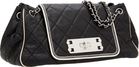 56247: Chanel Dark Navy Lambskin Leather Accordion Flap