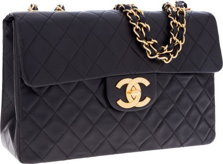 56249: Chanel Navy Lambskin Leather Maxi Single Flap Ba