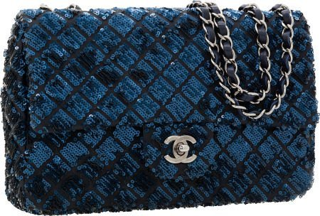56250: Chanel Indigo Blue Satin & Sequin Medium Single