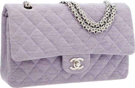 56252: Chanel Lilac Quilted Cotton Medium Double Flap B