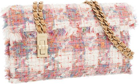 56253: Chanel Pink & White Tweed Shoulder Bag with Brus