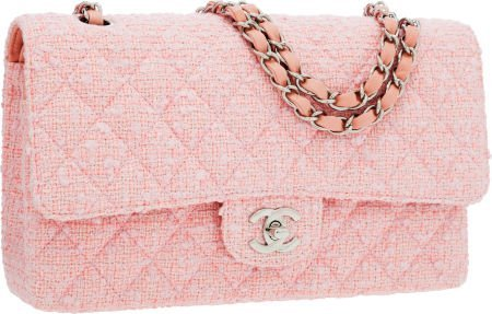 56254: Chanel Pink Quilted Tweed Medium Double Flap Bag