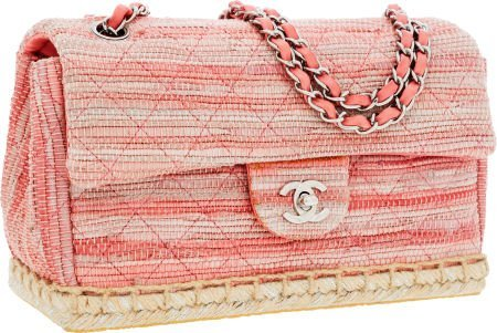 56255: Chanel Pink Striped Woven Leather & Suede Pink E