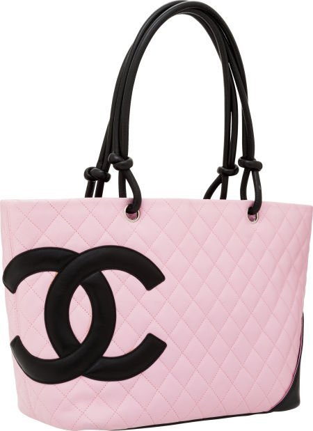 56256: Chanel Pink Lambskin Leather Cambon Large Tote B