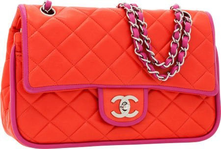 56257: Chanel Red & Fuchsia Lambskin Leather Medium Dou