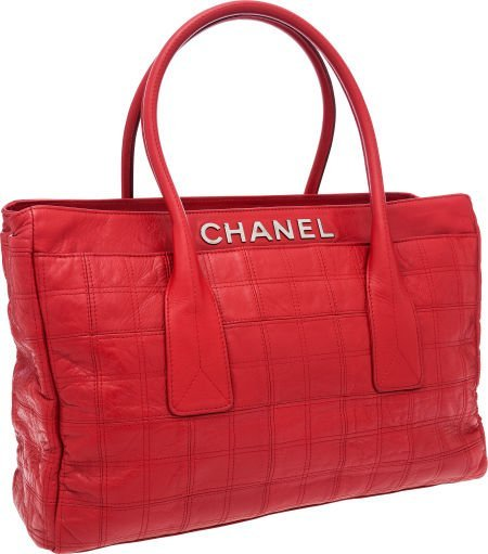 56258: Chanel Red Antiqued Lambskin Leather Cerf Tote B