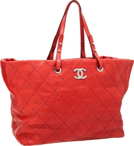 56259: Chanel Strawberry Red Antiqued Caviar Leather To