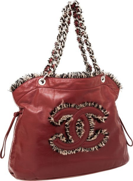 56260: Chanel Red Antiqued Leather CC Shoulder Bag with